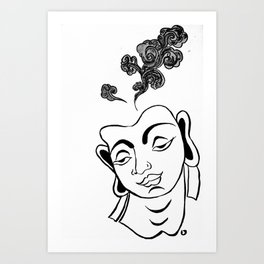 The Buddha of clouds _ Uncolored Art Print
