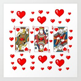 JACK, QUEEN, KING OF HEARTS SUIT CASINO  FACE CARDS Art Print