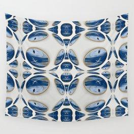Snowblue Clock Pattern 2 Wall Tapestry