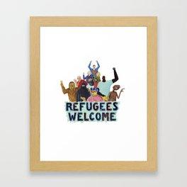 refugees welcome Framed Art Print