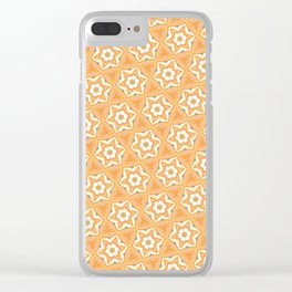 Orange six-point star pattern Clear iPhone Case