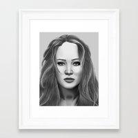 jennifer lawrence Framed Art Prints featuring Jennifer Lawrence by OliverThor