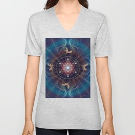 Metatron's Cube - Merkabah - Peace and Balance Unisex V-Neck
