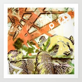 Bamboo and Panda Art Print
