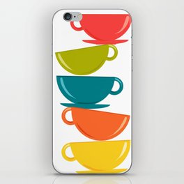 A Teetering Tower Of Colorful Tea Cups iPhone Skin