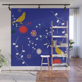 Bird and blossom electric blue Wall Mural