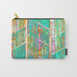 Turquoise Orange Boho Grunge Carry-All Pouch