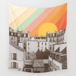 Rainbow Sky Above Paris Wall Tapestry