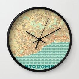 Santo Domingo Map Retro Wall Clock