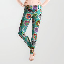 funny colored owls on a turquoise background Leggings