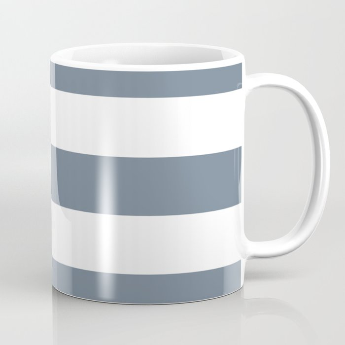 Slate gray - solid color - white stripes pattern Coffee Mug