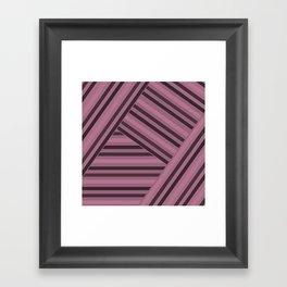 Black and pink striped pattern Framed Art Print