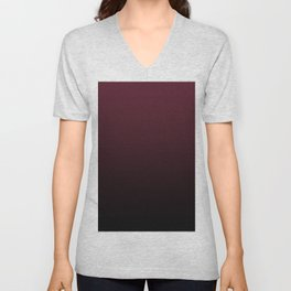 Burgundy Wine Ombre Gradient Unisex V-Neck