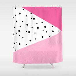 Black Dots Pink Leader Shower Curtain