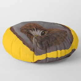 Red Tailed Hawk on Gold Floor Pillow