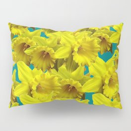 YELLOW SPRING DAFFODILS ON TEAL COLOR ART Pillow Sham