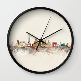 paris city skyline Wall Clock