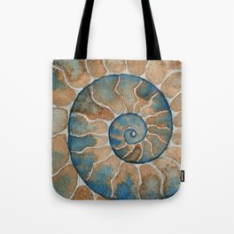 Ammonite fossil watercolor painting Tote Bag
