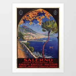 Salerno Italy vintage summer travel ad Art Print