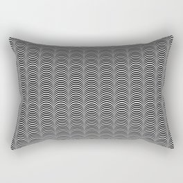 Black and White Scallop Line Pattern Digital Graphic Design Rectangular Pillow