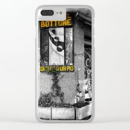 Italian Vintage Shop Black and White Photography Clear iPhone Case