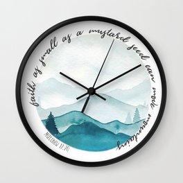 Matthew 17:20 Watercolor Mountains Wall Clock