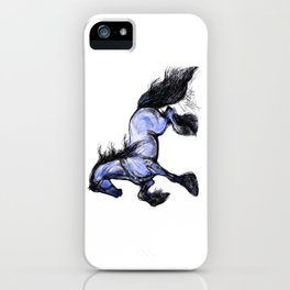 Friesian Mare Prancing iPhone Case