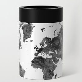 The world is a book, world map in black watercolor Can Cooler