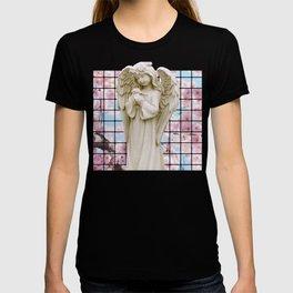 Vaporwave Angel Marble statue with Japanese Sakura Flowers design T-shirt