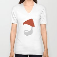 zissou V-neck T-shirts featuring Steve Zissou by Holden Boyles