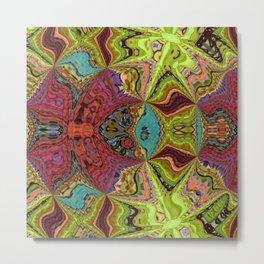 Kaleidoscope Glass Art (Maroon, Yellow, Salmon, Teal, Red) Metal Print