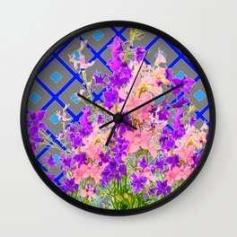 Assorted  Floral Garden  Blue Trellis Design Pattern Wall Clock