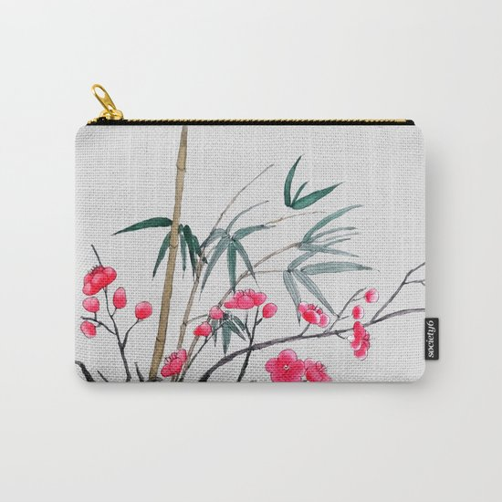 bamboo and red plum flowers Carry-All Pouch