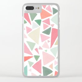 Watercolor Triangles 2 - Green - Pink - Orange Clear iPhone Case