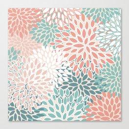 Festive, Floral Prints, Teal Green, Peach, Coral, Colour Prints Canvas Print