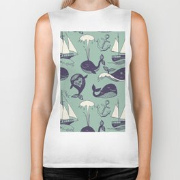 Pattern with marine motifs. Yachts, funny whales, carefree sunny voyage. Biker Tank