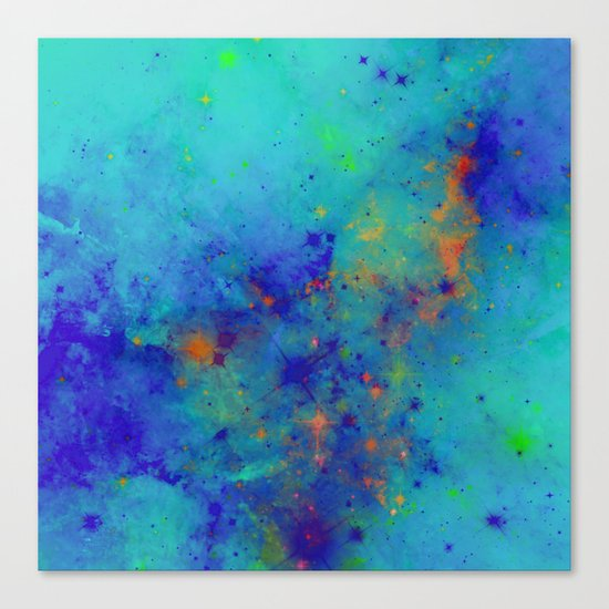 Blue Atmoshpere - Abstract in green, blue, orange and red Canvas Print