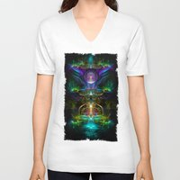 neon V-neck T-shirts featuring Neon by Manafold Art