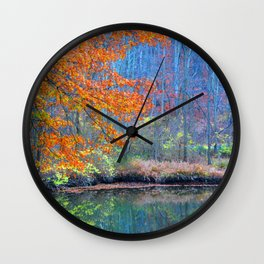 Fall on the River Wall Clock