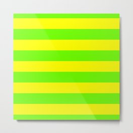 Bright Neon Green and Yellow Horizontal Cabana Tent Stripes Metal Print