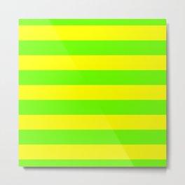 Bright Neon Green and Yellow Horizontal Cabana Tent Stripes Metal Print