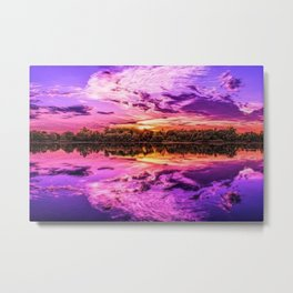 Deep Purple Lake Sunset Landscape Metal Print