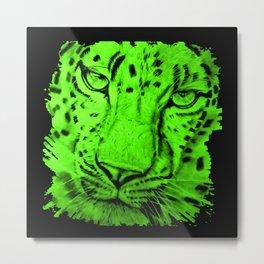 Green Leopard Metal Print