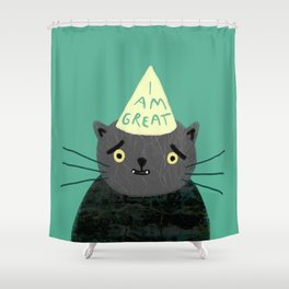 "Fat Olive ""I Am Great"" Shower Curtain"
