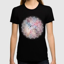Whimsical white watercolor mandala design T-shirt