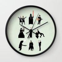 men Wall Clocks featuring Men in Black by Eric Fan