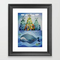 Traveling whale Framed Art Print