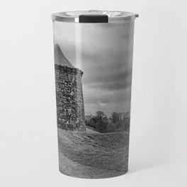 Beacon Tower at Burton Dassett Black and White Travel Mug