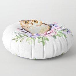 Bohomian Animal Illustration- Be Wise Little Owl Floor Pillow