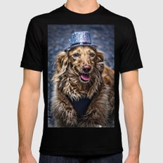 Party Dog Black Mens Fitted Tee MEDIUM